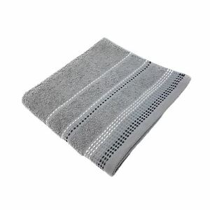 LUXURY STRIPED BRIGHT 100% COMBED COTTON SOFT ABSORBANT SILVER BATH SHEET TOWEL