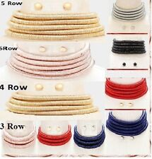3 & 4 Row Gold 5 Row Multi Layer Metallic Wide Collar Choker Statement Necklace