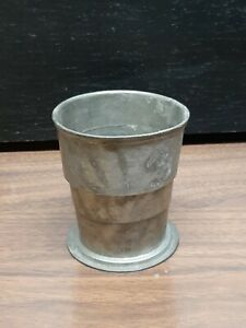 Old Antique Pewter Collapsible Water Drinking Cup Marked