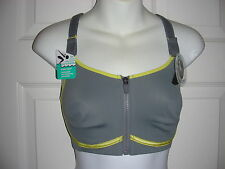 HALF MOON ACTIVE BRA-Y42BM293-Gray & Yellow-32DD-Gym-to-Swim Sports Bra