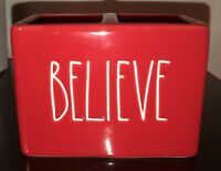 "NEW Rae Dunn ""BELIEVE"" Red Bathroom Desk Organizer Toothbrush Holder Christmas"