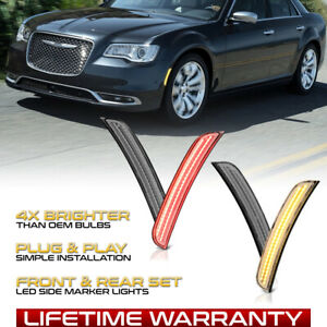 [Full LED]4PC Front+Rear Amber Clear Side Marker Lamp For 2015-2021 Chrysler 300