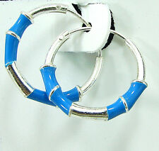 925 Solid Sterling Fine Silver Handmade Pair of Hoop Earrings Wali Gift - 406