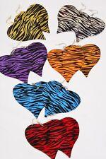 Earrings Lot 6 Pair Heart Metal Zebra