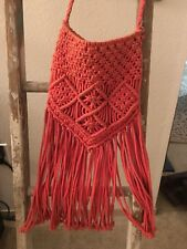 Urban Outfitters Crochet Orange/Coral Crossbody Fringe Bag Small