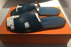 HERMES IZMIR MENS LEATHER SANDALS PETROLE BLUE SIZE 45 / 12 US BRAND NEW IN BOX