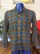 VTG 50s 60s MANHATTAN LOOP COLLAR Shadow Plaid POLY COTTON SQUARE BOTTOM SHIRT M