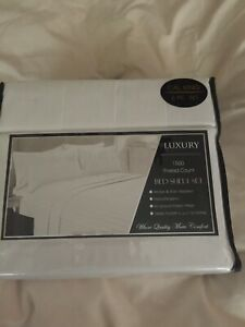 Luxury 2 bed sheet set 1500 thread 6 pc dobby stripe white 4 pillowcases flat