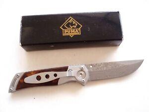 PUMA TEC DAMASCUS BLADE LINER LOCK KNIFE