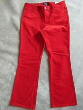 NWT TALBOTS - PETITES - RED CORDUROY Curvy Fit / Boot Leg Jeans Pants - 8P