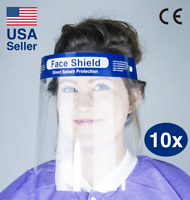 Safety Full Face Shield 10 PACK Reusable Protection Cover Anti-Splash Face Mask