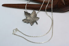 """Vintage Real Sterling Silver Canada Maple Leaf Pendant Broach Necklace 20"""" Chain"""