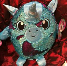 "1 LARGE New Shimmeez 14"" Yaffa The Unicorn Flip Sequins Plush Valentines Easter"