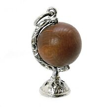 VINTAGE SILVER LUCKY Touch WUD wood Globe Charm