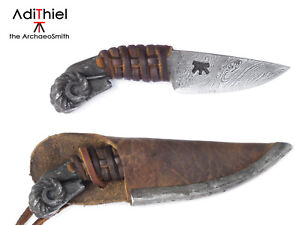 Kb_07a + LCS, Small Damascus Steel Ram Head Necklace KNIFE