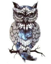 BLUE OWL Temporary Tattoo 💙 Adult Body Art Transfers Birds Small 9x6 Cms Owls ☆