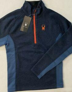 Spyder Men's Outbound Half Zip Pullover SMALL S Navy Blue SKI Deb Jacket Sweater