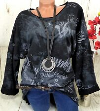 Shirt Tunika Bluse Pullover Top T-Shirt Longshirt  Baumwolle Schwarz XL 44 46