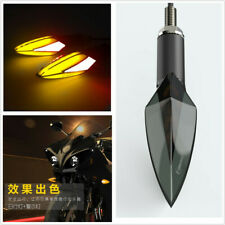 2 Pcs White+Amber 2in1 Flowing LED Motorcycles Turn Signal Indicator Lights DRL
