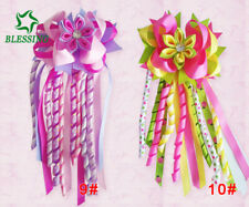 """12 BLESSING Girl 4.5"""" Colorful Romance Ponytail Hair Bow Elastic Pony Streamers"""