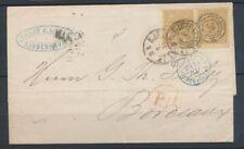 1876 DANEMARK Lettre paire 8s bistre-olive Obl Copenhague pr Bordeaux X1027