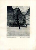 Brunnen Statue Otto d. Reiche Freiberg Kunstdruck 1926 Walter Heinrich Obermarkt