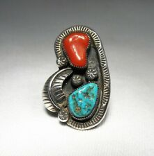 Vintage Navajo Old Pawn Turquoise & Coral Sterling Silver Ring C2725