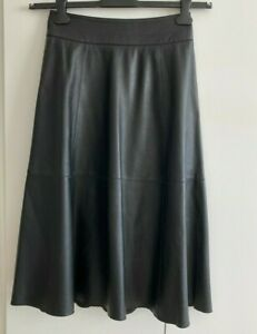 Seed Heritage 100% black leather skirt , A-line , size 8