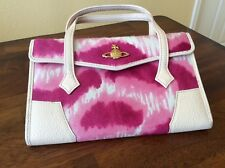 Vivienne Westwood Leopard Calf Hair Leahter Handbag Bag Pink