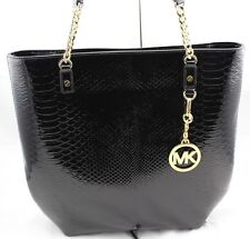 NEW AUTHENTIC MICHAEL KORS BLACK JET SET CHAIN ITEM NS TOTE HANDBAG PYTHON CROC
