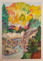 Original Watercolor Painting Art Nature Stream Creek Aspen Mountains Pines Fores