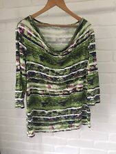 W Lane Cowl Boatneck Multi-Coloured Striped Pattern Stretch 3/4 Sleeve Top Sz XL