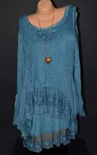 Tunika 2tlg Lagenlook Bluse Top Pullover T.Shirt Untershirt Netz Kleid Shirt Neu