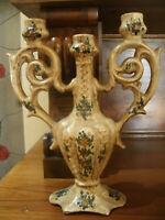CANDELABRO A Tre Candele Ceramica BAFFONI GUBBIO 10x24 cm h 30 cm
