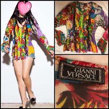 7e8d99fe593c1d Vintage GIANNI VERSACE Ruffle Floral Pleat Bell Button Shirt Silk Blouse S    40