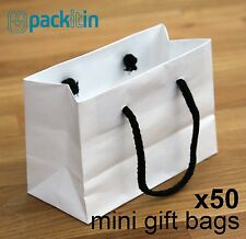 x50 MINI WHITE paper gift CARRY party BAGS with black rope handles (100 x 150mm)