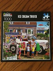 White Mountain 1000 piece puzzle Ice Cream Truck Gently Used Complete ++