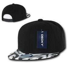 Solid Black 2 Tone Zebra Animal Print Vintage Snapback Classic Flat Bill Hat Cap