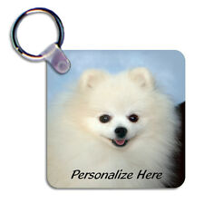 Pomeranian  white  Personalized  Breed  Key  Chain