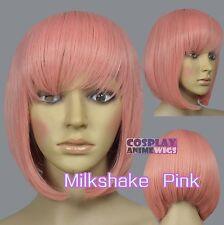 30cm Milkshake Pink Heat Styleable Chic Bob short Cosplay Wigs 91_KPN