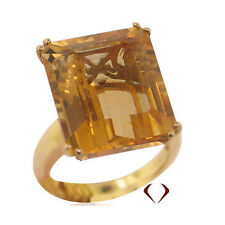 18.65 CTW 0.75'' by 0.50'' EMERALD CUT CITRINE RING in 14K Yellow Gold