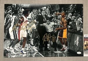 Ben Wallace & Ron Artest Dual Autographed 12x18 MALICE AT THE PALACE Photo