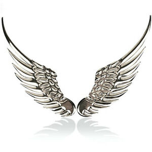 2PCS Car 3D Angel Hawk Wings Pair Chrome Metal Silver Emblem Sticker Decor Logo