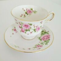 "Vintage 1974 Avon ""PINK ROSES"" Tea Cup & Saucer Fine Bone China England"