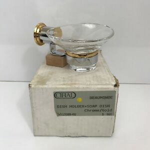 Cifial Beaumonde Chrome / Gold High Quality Glass Designer Soap Dish & Holder