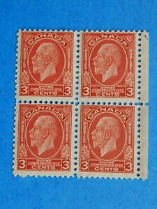 "#197 MNH  Block of 4 3c deep red King George V ""Medallion"" issue     CV =$40.00"
