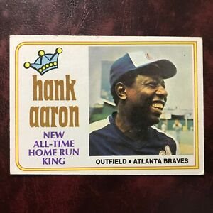 1974 Topps Set HANK AARON HOME RUN KING #1 ATLANTA BRAVES - VG-EX