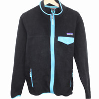 B193 Patagonia Fleece Full Zip Synchilla Black Sweater Jacket Women's Medium