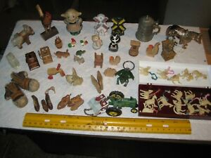vintage junk drawer lot,miniatures collection,animals,shoes,rocking chair,wood