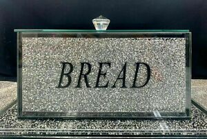 Silver Crushed Diamond Crystal Mirrored Bread Bin Container Sparkly Glitter